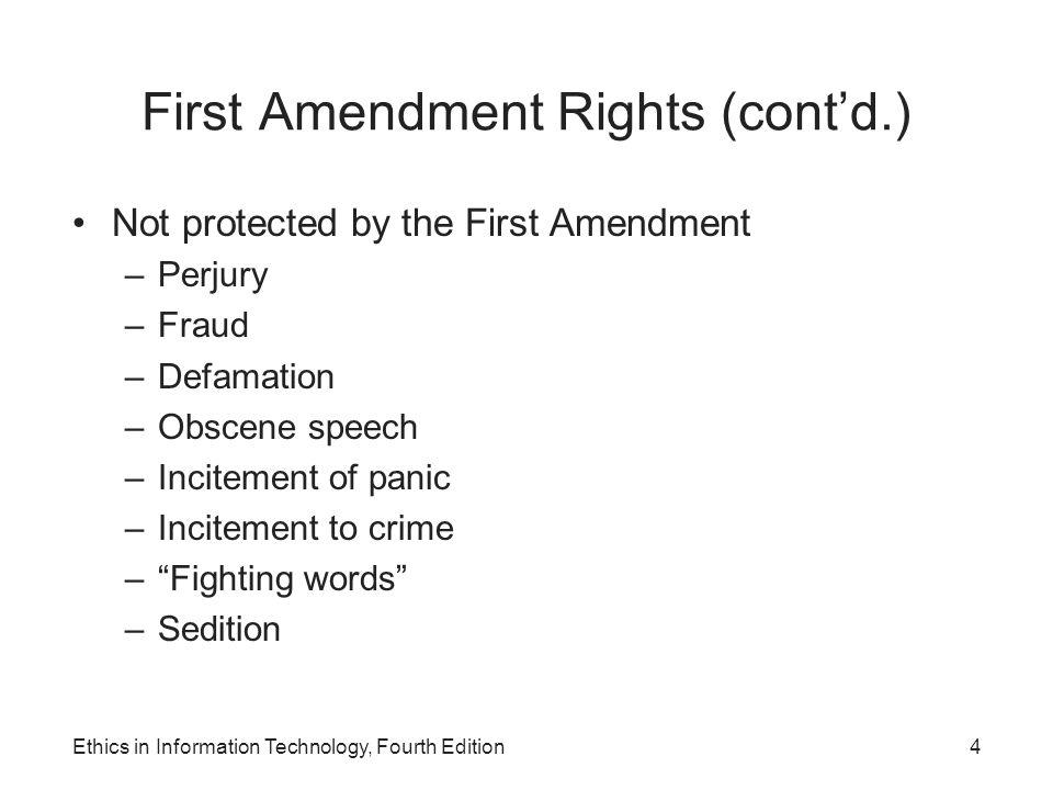 First Amendment Rights (cont'd.)