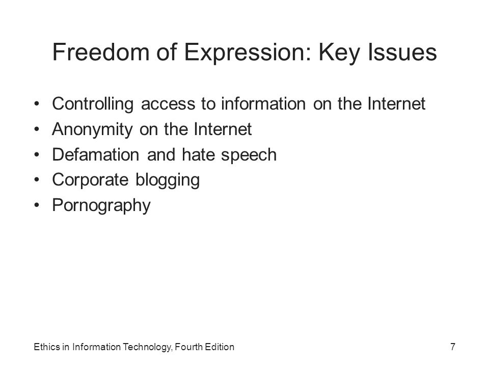 Freedom of Expression: Key Issues