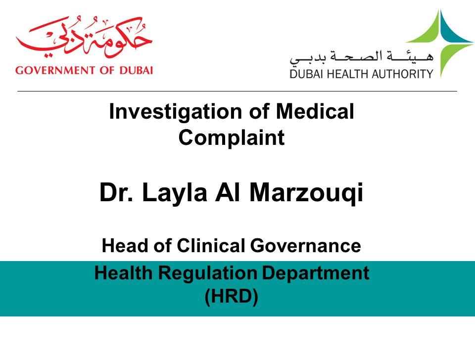 Health Regulation Department (HRD)