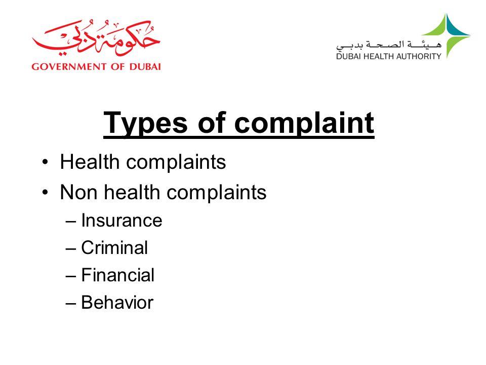 Types of complaint Health complaints Non health complaints Insurance