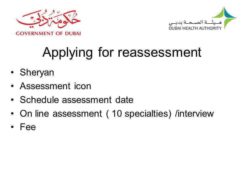 Applying for reassessment