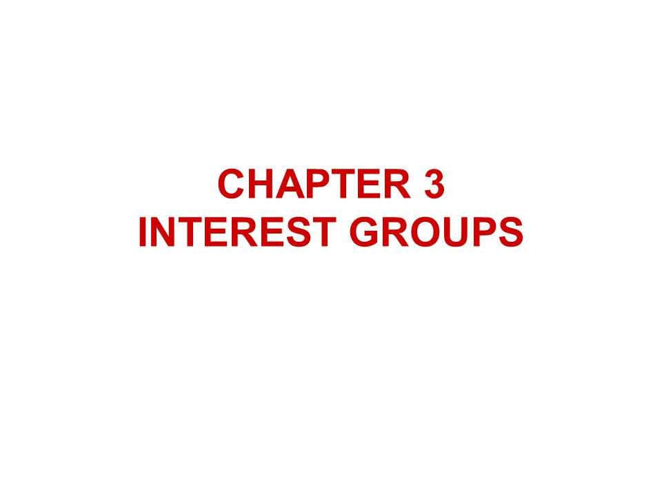 CHAPTER 3 INTEREST GROUPS