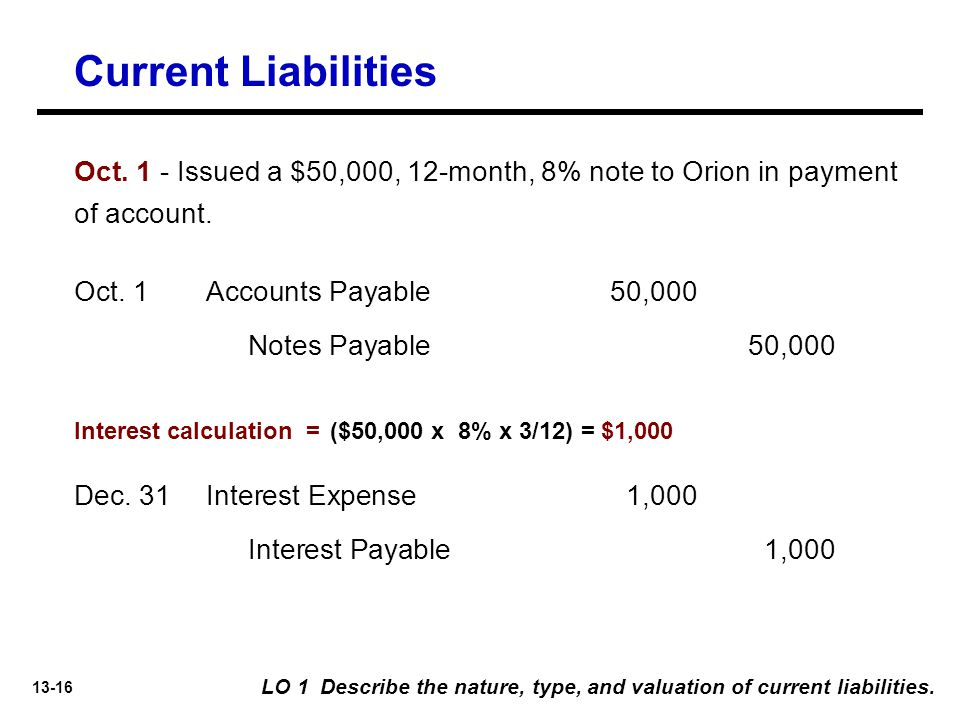 Current Liabilities Oct. 1 - Issued a $50,000, 12-month, 8% note to Orion in payment of account. Oct. 1 Accounts Payable 50,000.