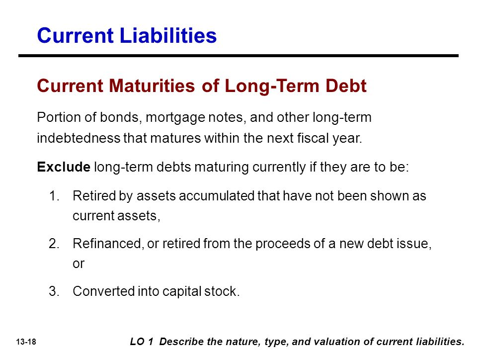 Current Liabilities Current Maturities of Long-Term Debt
