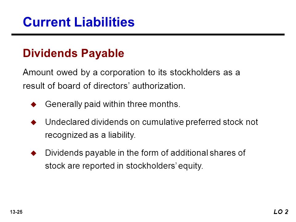 Current Liabilities Dividends Payable