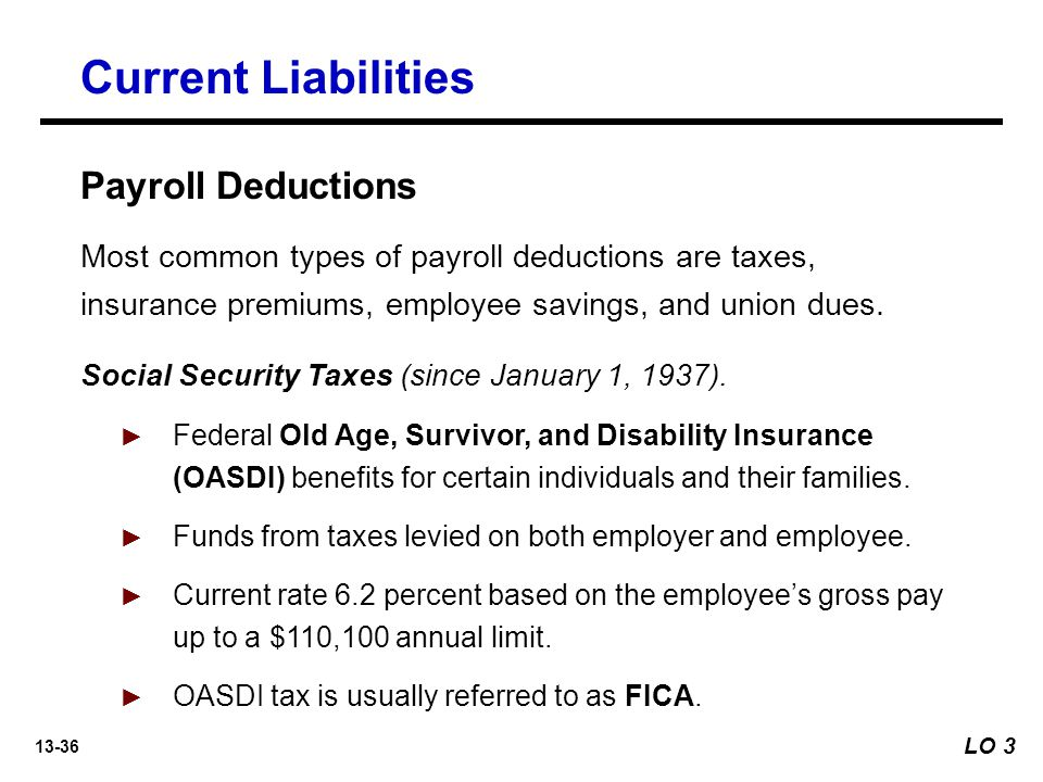 Current Liabilities Payroll Deductions