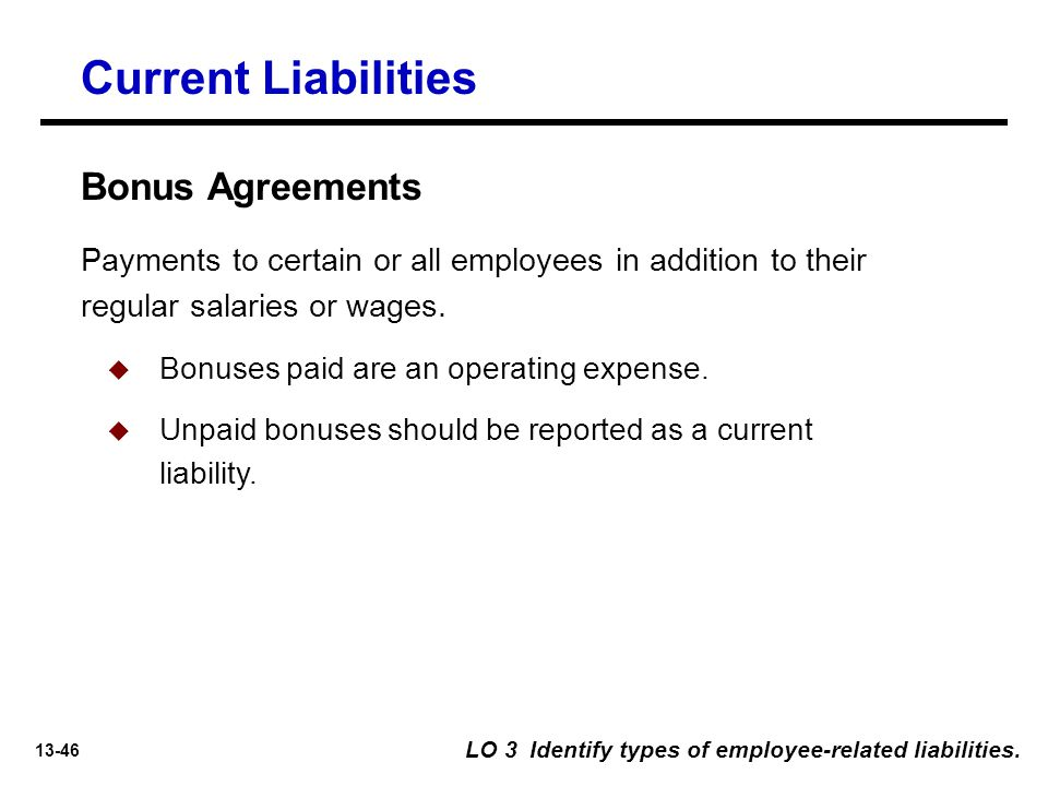 Current Liabilities Bonus Agreements
