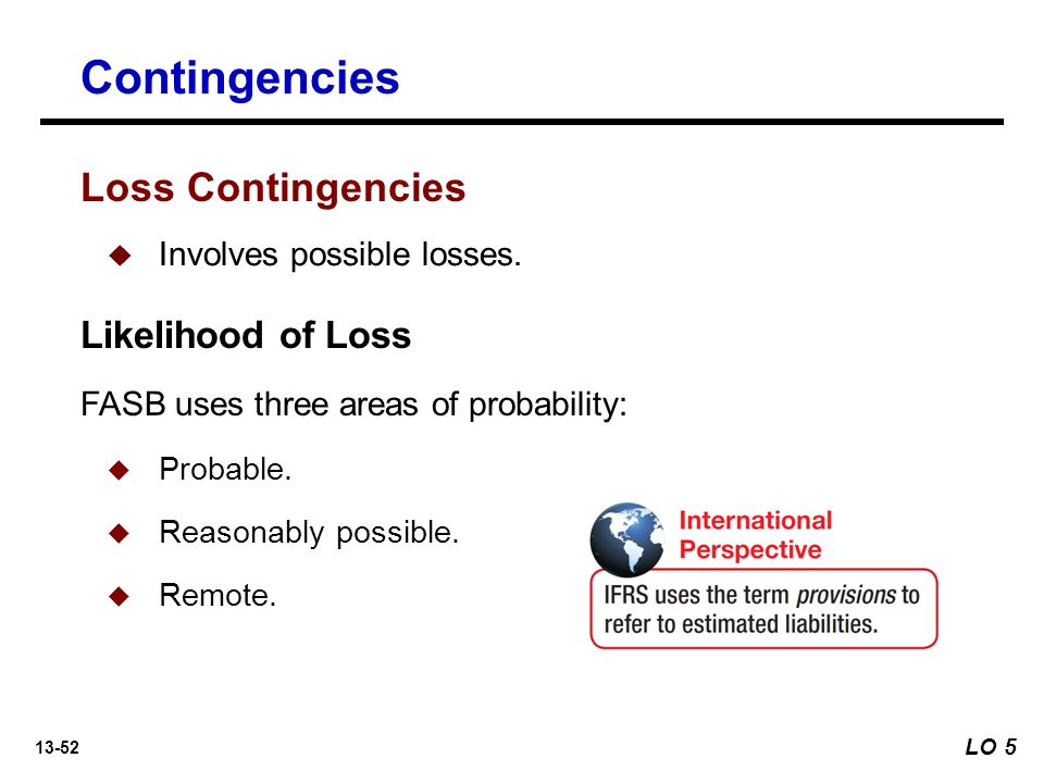 Contingencies Loss Contingencies Likelihood of Loss