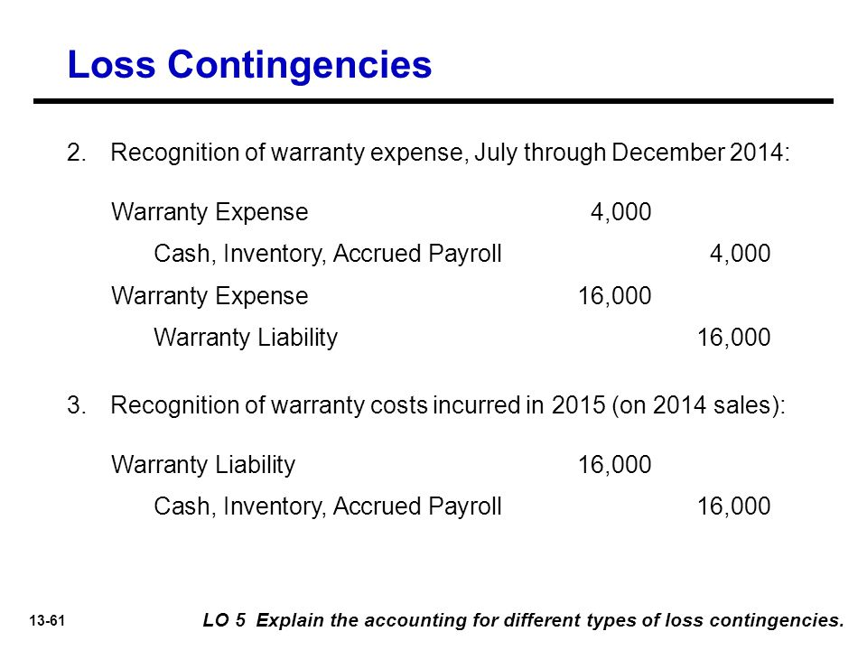 Loss Contingencies Recognition of warranty expense, July through December 2014: Warranty Expense 4,000.