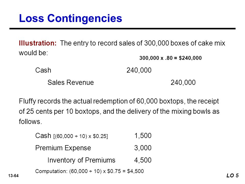 Loss Contingencies Illustration: The entry to record sales of 300,000 boxes of cake mix would be: 300,000 x .80 = $240,000.