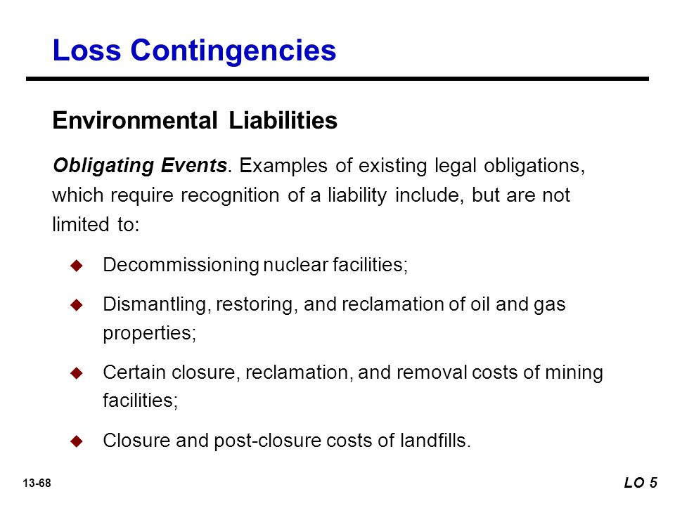 Loss Contingencies Environmental Liabilities