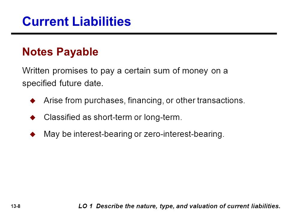 Current Liabilities Notes Payable