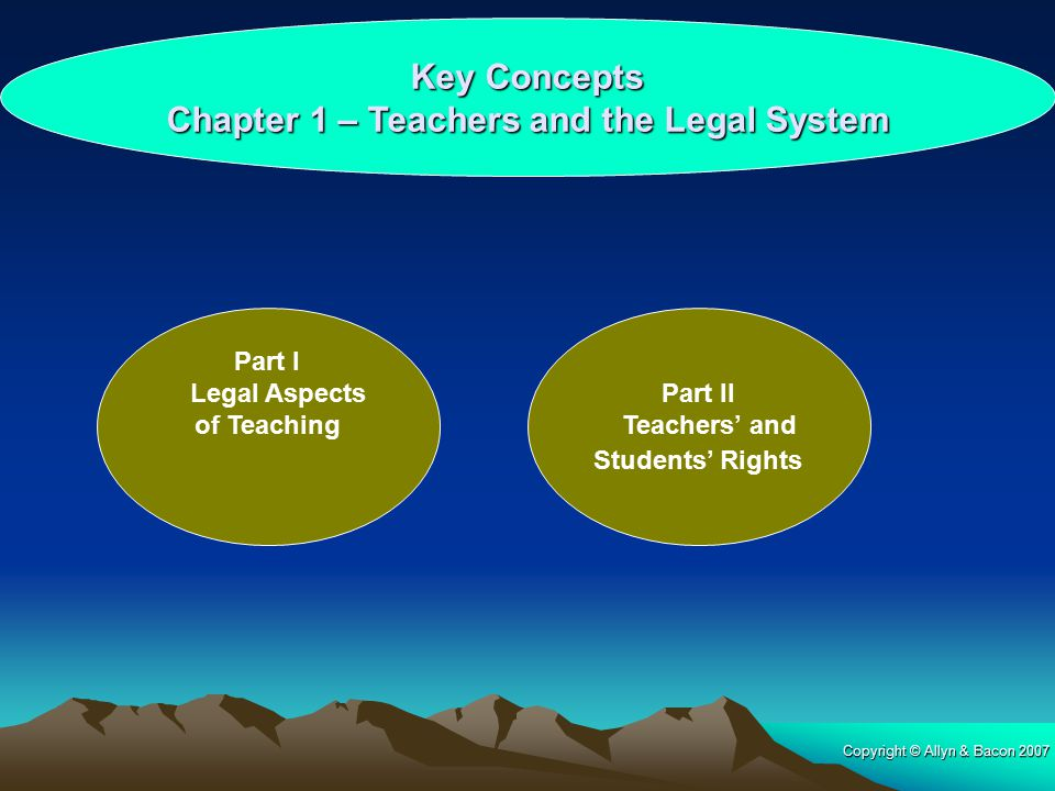 Key Concepts Chapter 1 – Teachers and the Legal System