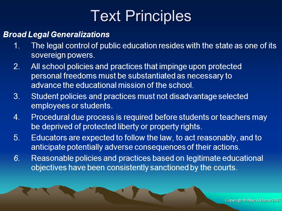 Text Principles Broad Legal Generalizations