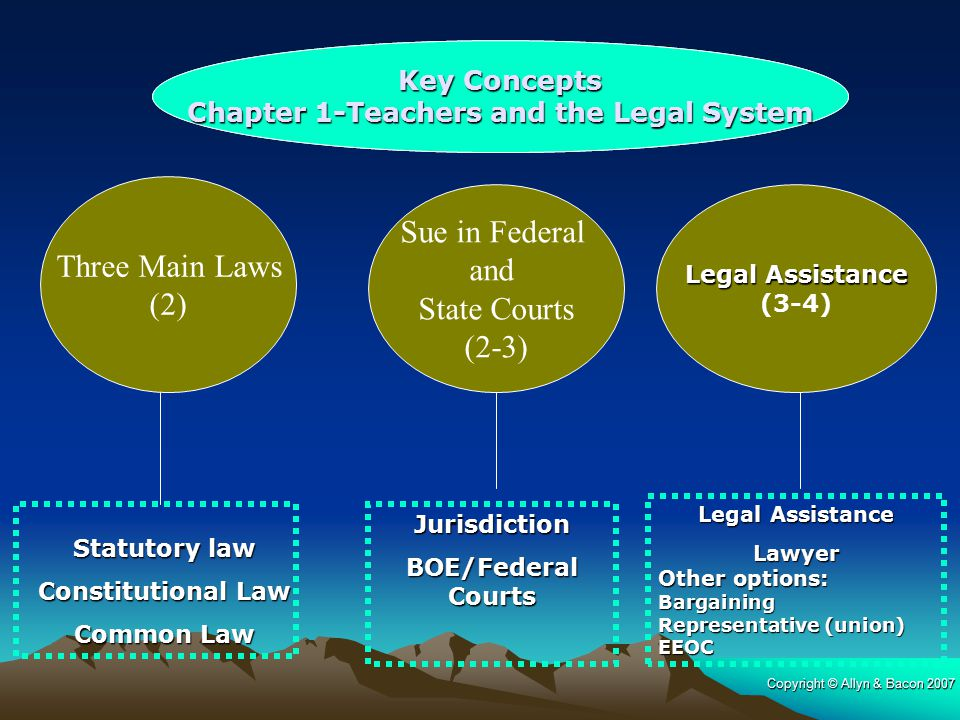 Sue in Federal Three Main Laws and (2) State Courts (2-3)