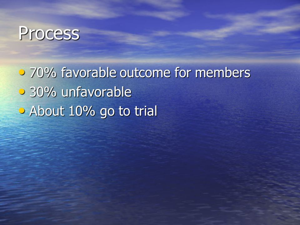 Process 70% favorable outcome for members 30% unfavorable