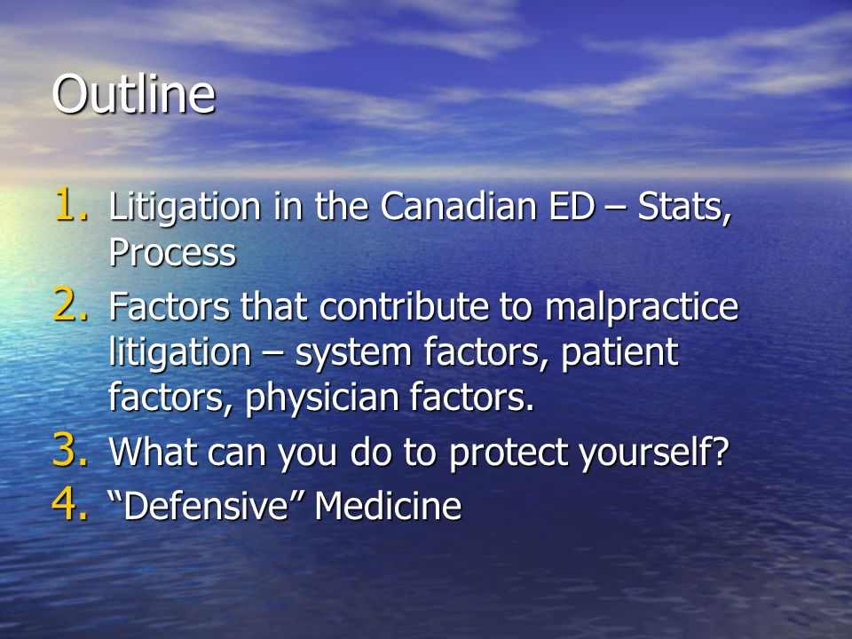 Outline Litigation in the Canadian ED – Stats, Process