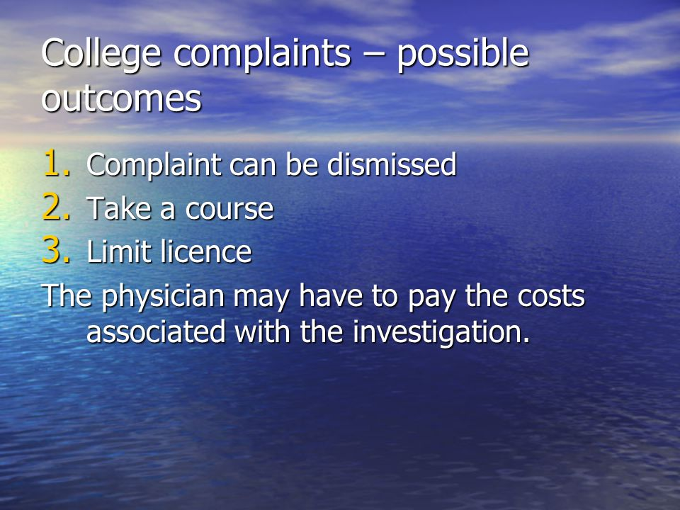 College complaints – possible outcomes
