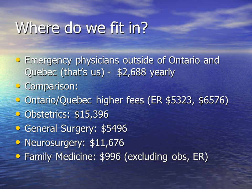 Where do we fit in Emergency physicians outside of Ontario and Quebec (that's us) - $2,688 yearly.
