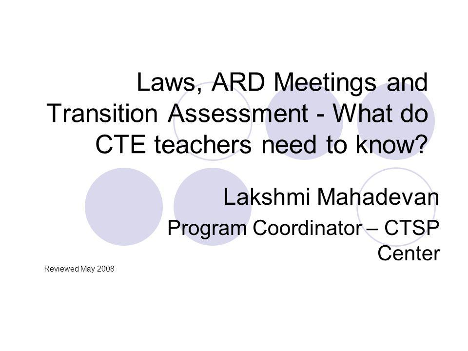 Lakshmi Mahadevan Program Coordinator – CTSP Center