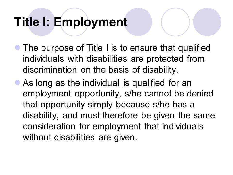 Title I: Employment