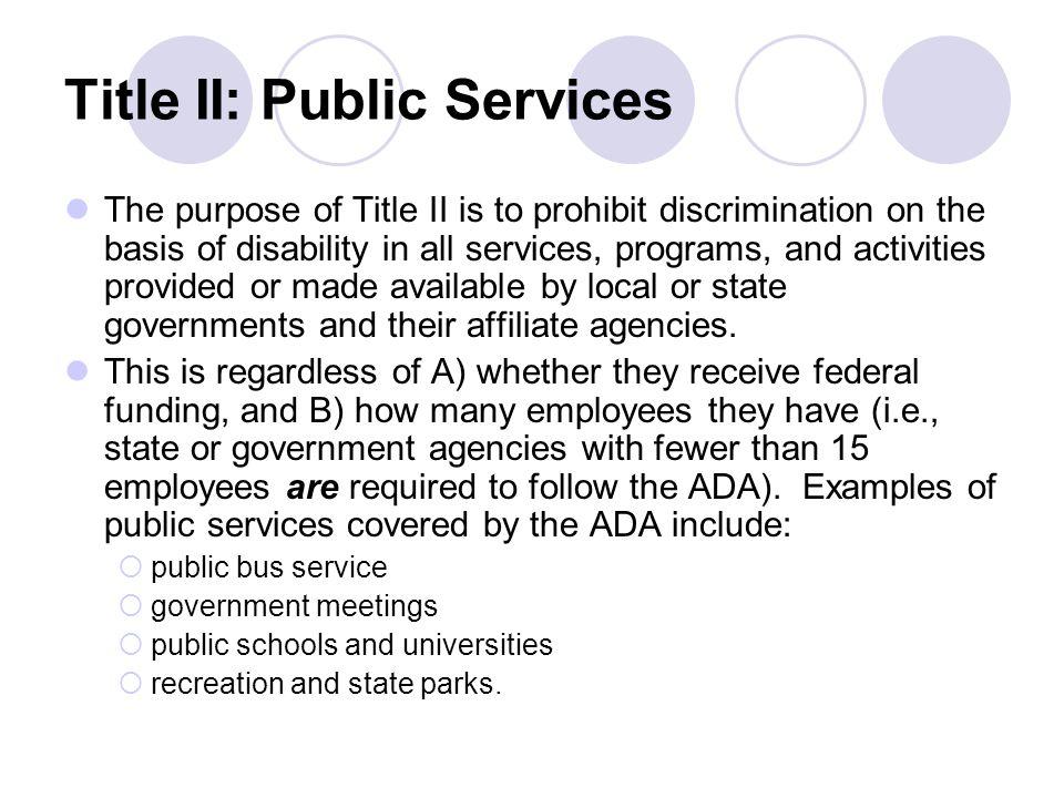 Title II: Public Services