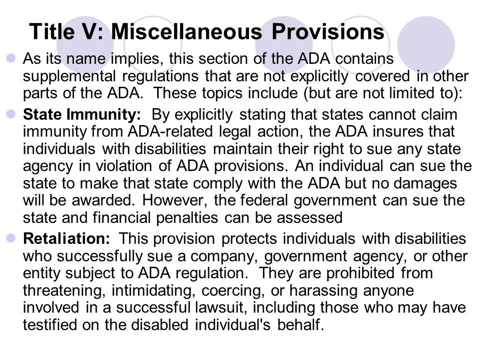 Title V: Miscellaneous Provisions