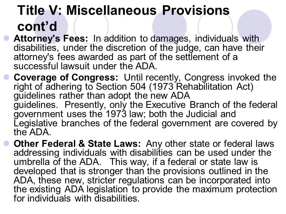 Title V: Miscellaneous Provisions cont'd