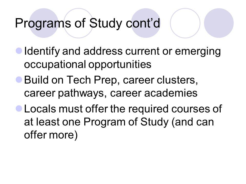 Programs of Study cont'd