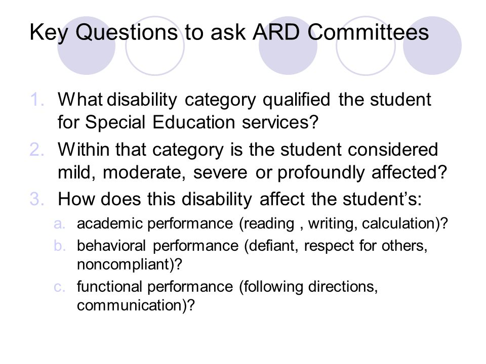 Key Questions to ask ARD Committees