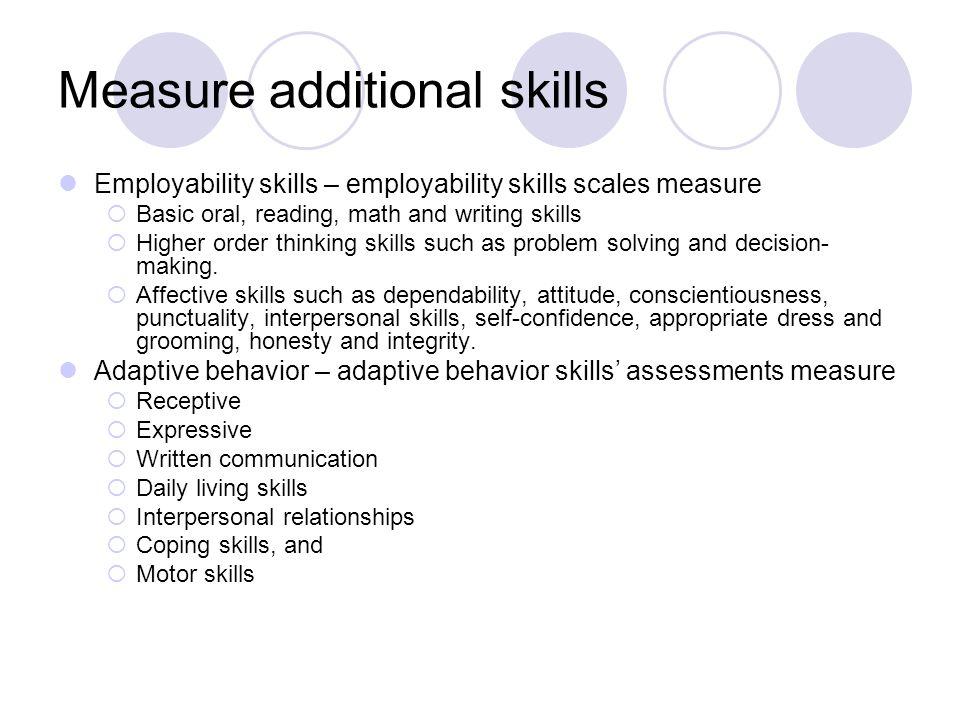 Measure additional skills