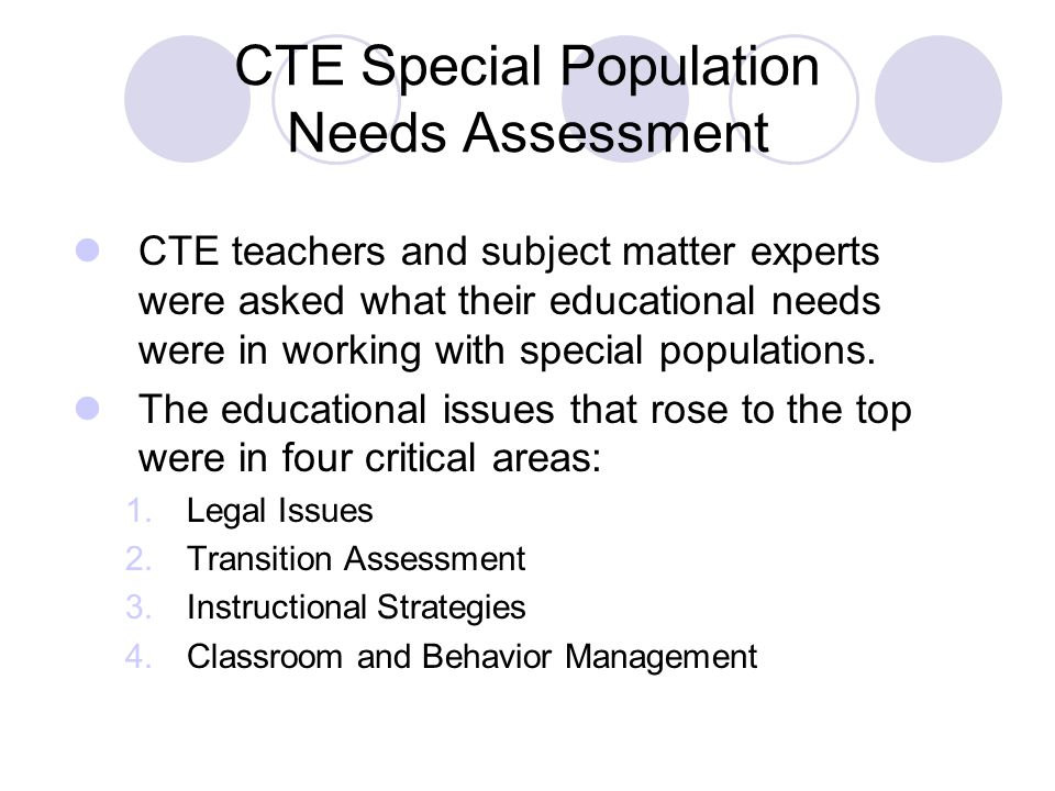 CTE Special Population Needs Assessment