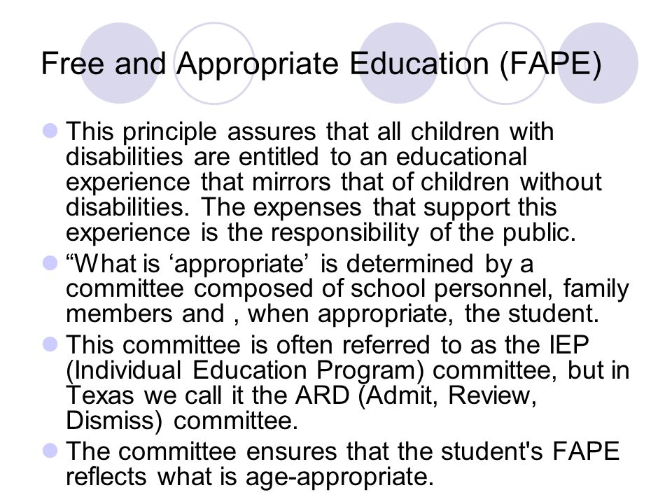 Free and Appropriate Education (FAPE)