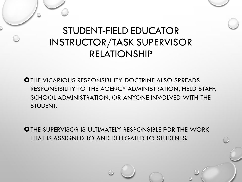 Student-Field Educator Instructor/Task Supervisor Relationship