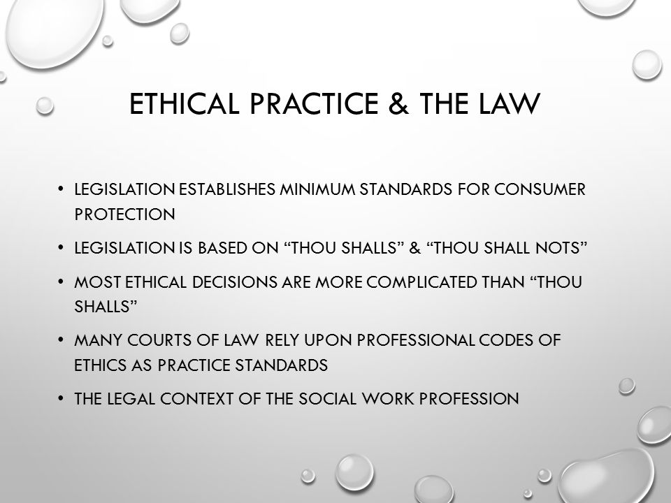 Ethical Practice & the Law