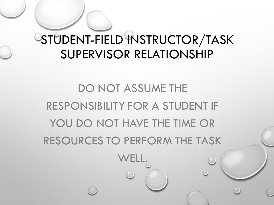 Student-Field Instructor/Task Supervisor Relationship