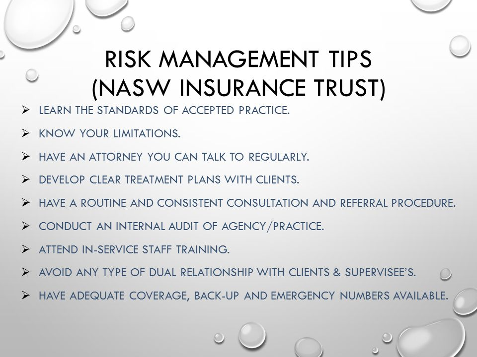 Risk Management Tips (NASW Insurance Trust)