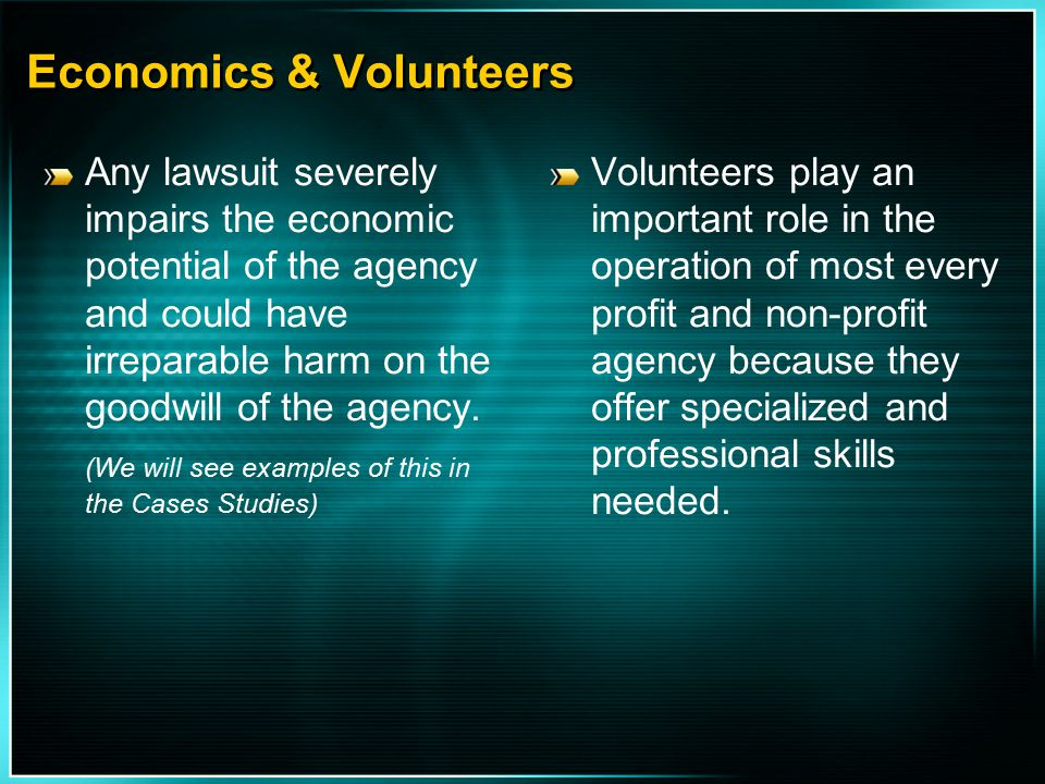 Economics & Volunteers