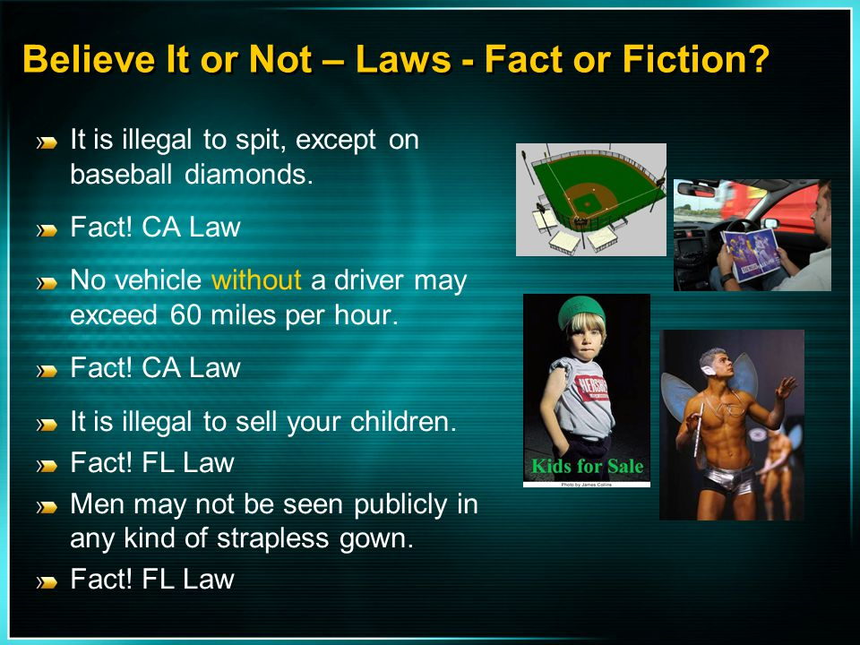 Believe It or Not – Laws - Fact or Fiction