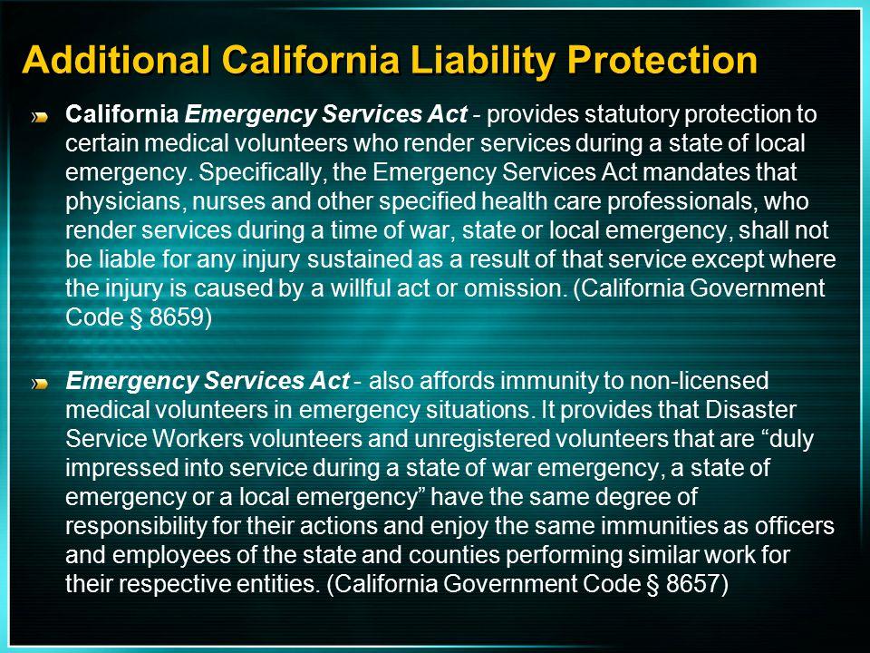 Additional California Liability Protection