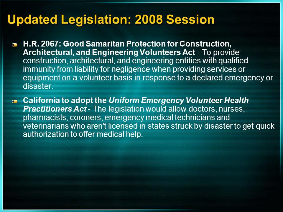 Updated Legislation: 2008 Session