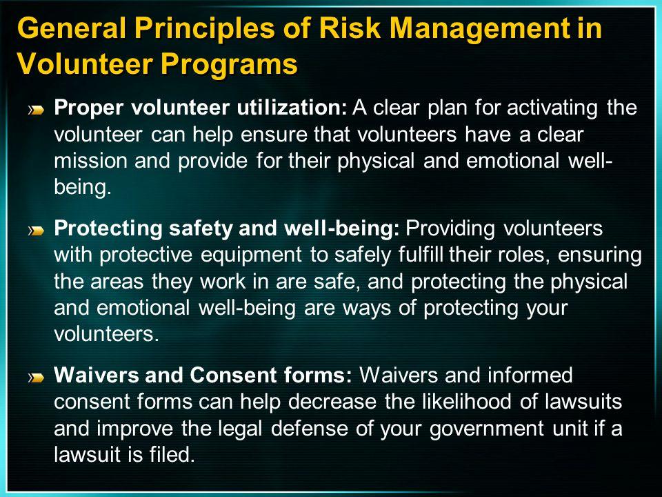 General Principles of Risk Management in Volunteer Programs