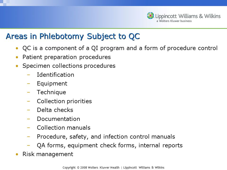 Areas in Phlebotomy Subject to QC