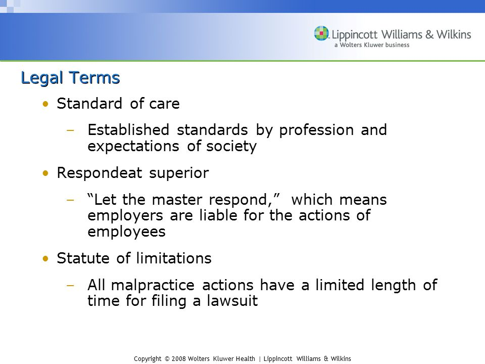Legal Terms Standard of care