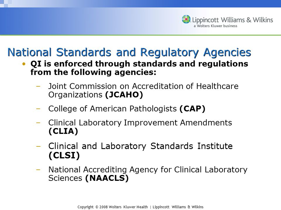 National Standards and Regulatory Agencies