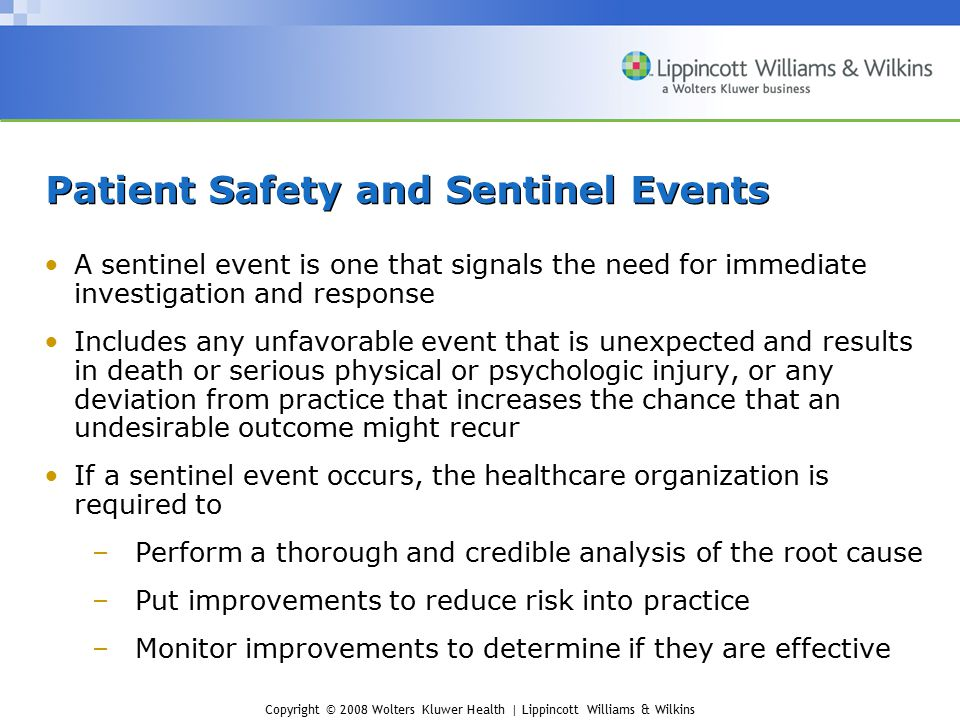 Patient Safety and Sentinel Events