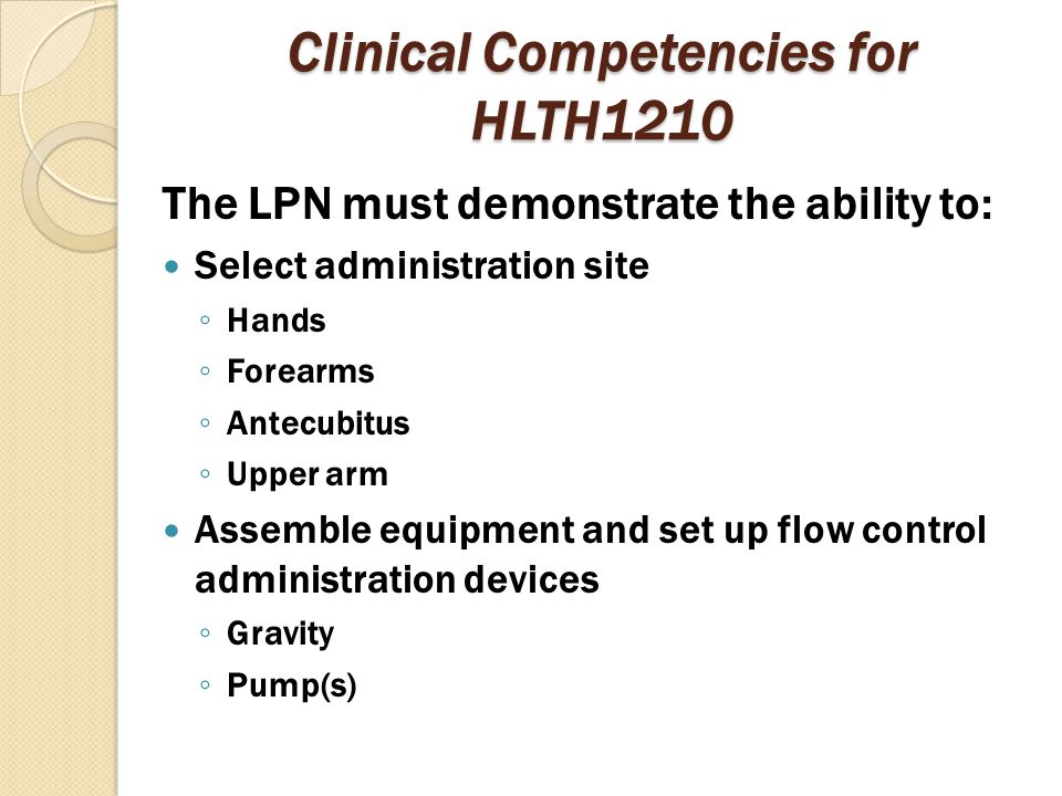 Clinical Competencies for HLTH1210
