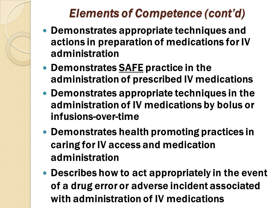 Elements of Competence (cont'd)