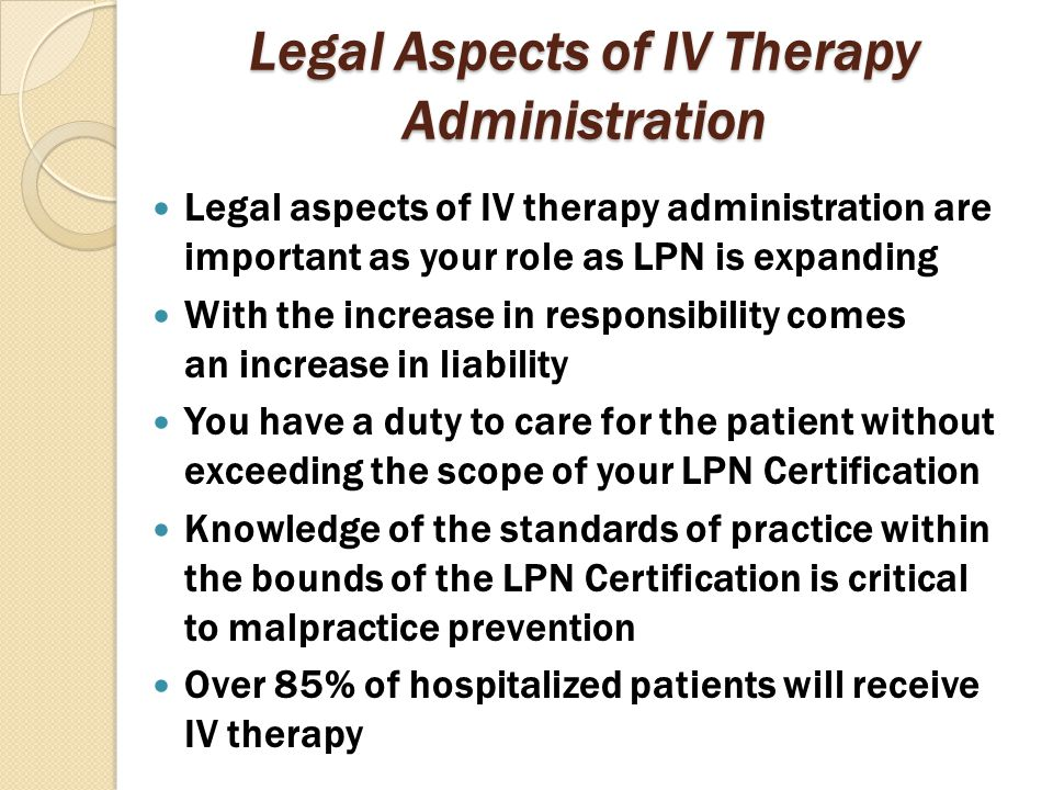 Legal Aspects of IV Therapy Administration