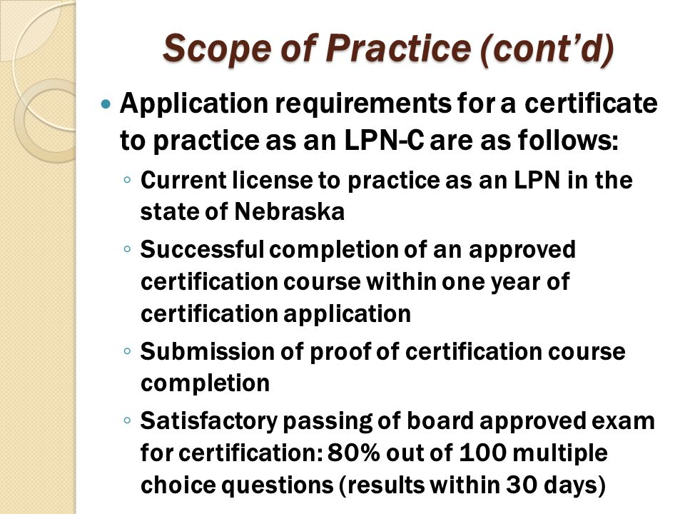 Scope of Practice (cont'd)
